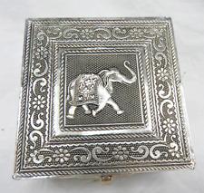 Elephant Design Embossed Indian Style Silver Metal Jewellery Box - BNIB