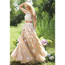 J214 JOVANI 24284 SZ 6 NUDE PASTEL $678 2 pc  PAGEANT PROM FORMAL GOWN DRESS