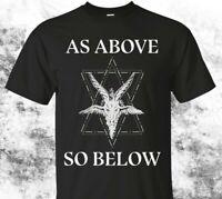 """Satanic shirt Baphomet Satan 666 Pentagram """"As above so below"""" Goat"""