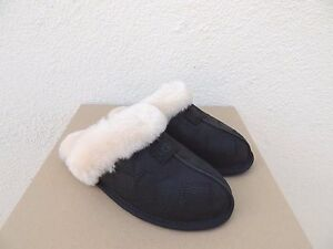 UGG SCUFFETTE II BLACK SNAKE LEATHER SHEEPSKIN SLIPPERS, WOMEN US 10/ EUR 41 NIB
