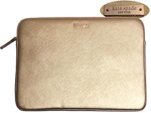 "Kate Spade NEW YORK SAFFIANO 13"" MacBook Laptop Notebook Sleeve - Metallic GOLD"