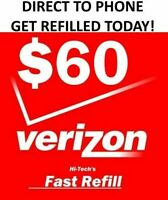 $60 VERIZON PREPAID 🔥 FAST 🔥 DIRECT TO PHONE REFILL 🔥 UNLIMITED DATA !