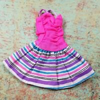 Vintage Barbie Doll Clothes Pink Striped Party Summer Spaghetti Strap Dress 90s