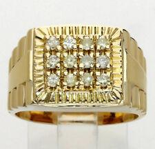 Mens diamond president ring 14K yellow gold fancy Lt yellow round brilliant .36C