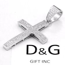 NEW DG Gift Inc Men's Iced-Out Sterling Silver 46mm Cross Pendant Unisex + Box