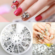 5 Sizes 3D Rhinestones Glitter Diamond Gems Tips DIY Nail Art Decorations Wheels