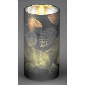 *  FORMANO LED Kerze / Windlicht / Glas / Blätter / Silbergrau / Grau / NEU *