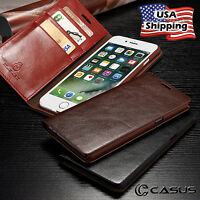For iPhone XS MAX XR 8/7 Plus Genuine Leather SLIM Wallet Card Flip Case Cover