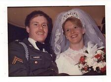 Vintage Photo Pretty Bride & Soldier Groom, Wedding Portrait, 1990's