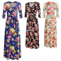 Women 3/4 Sleeve Maxi Dress V-neck High Waist Solid Slim Party Banquet B98B