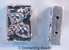 Calla Lily Rectangle Beads  Pewter Silver Plate 2 Hole P193 (4)  TierraCast 14mm