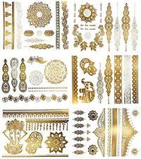 Paquete De Tatuajes Temporales Metálicos De Henna Boho Mehndi Dorado Plateado