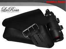 LaRosa Sportster Left Saddle Bag & Gas Bottle - 2004 UP Black Leather La Fondina