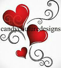 20 WATER SLIDE NAIL ART DECAL TRANSFERS VALENTINE HEART DESIGN 5/8 INCH