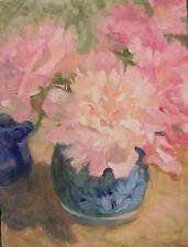 Peonies 1 pink, white peonies & Primroses in blue vase 9x11O/C Margaret Aycock