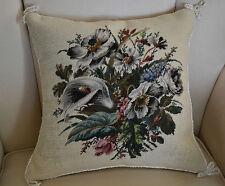 "14""x14"" Delight Floral Needlepoint Pillow Silk Fringe"