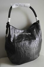Oroton Kiera Croc Hobo Black Leather Handbag Shoulder Bag