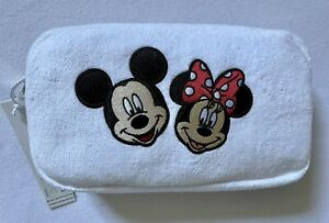 """NWT Stoney Clover Coconut Terry Small Pouch with 3"""" Mickey & 3"""" Minnie sewn on"""