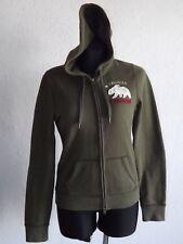 Holliser Colifornia womens long sleeve khaki sweatshirt with hoody size M