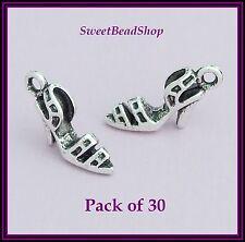 30 antique couleur argent 22 x 9mm chaussure à talon haut sandale charmes 3d