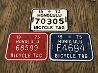 1972, 1973 & 1975 Vintage Honolulu Bicycle License Plate Tag. Mint. Hawaii