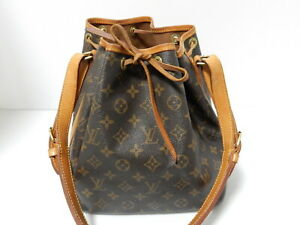 Auth Louis Vuitton Monogram Petit Noe Shoulder Bag Browns AR1916 M42226