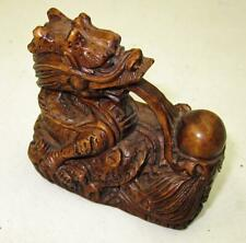 Vintage Stunning Hand Carved And Signed Dragon Netsuke