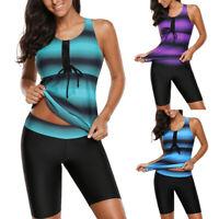 Ladies Beach Tankini Swimsuit with Boy Shorts Swimwear Two Piece Swimsuit M-5XL