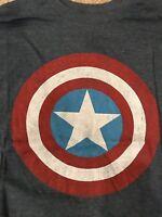 T Shirt Grey Captain America 50% Cotton 50% Polyester