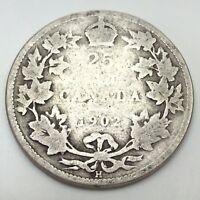 1902 H Canada 25 Quarter Cents Circulated Twenty Five Canadian Coin D504