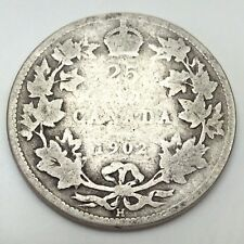 1902 H Canada 25 Quarter Cents Circulated Twenty Five Canadian Coin D504