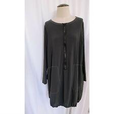 Sun Kim Gray Black Zipper Front Tunic Dress Top XL