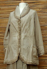 LAGENLOOK*KEKOO*BEAUTIFUL AMAZING QUIRKY 2 POCKETS JACKET*DUSTY BEIGE*SIZE 42-44