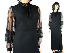 20s 30s Evening Gown Sz S Vintage Black Bias Cut Rayon Crepe Lace Long Dress