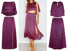 Ladies New Asymetric Crop Top High Waist Split Midi Skirt Etnic Print Co Ord Set