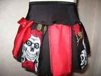 Red skulls Skirt NEW Black white roses Lolita,Punk Rock gothic  All sizes Gift