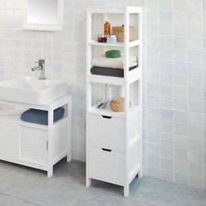 SoBuy Mueble columna de baño Armario para baño-3 estantes y 2 cajones FRG126-W,E