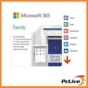 Microsoft 365 FAMILY Office 6 PC Mac 1Year Home Electronic Software Key Delivery