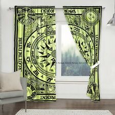Indian Campos Mandala Window Cotton Curtain Balcony Treatment Drapes 2-Panel Set