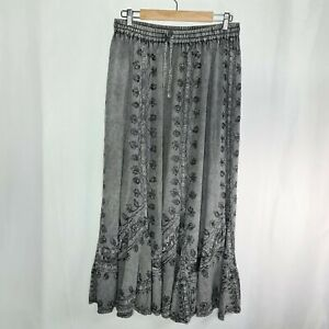 STYLE STYLE STYLE Size OS Grey Embroidered Sequined Elastic Waist Maxi Skirt