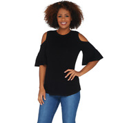 Isaac Mizrahi Live! Cold Shoulder Flutter Short Sleeve Sweater Size M Black