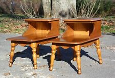 Vintage Pair Maple Kling Colonial Style Step End Tables Nightstands Ethan Allen