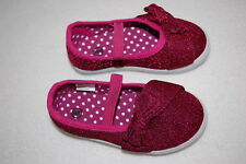 Toddler Girls Shoes Dark Fuchsia Pink Mary Janes Glitter Sparkle Bow Accent Sz 6