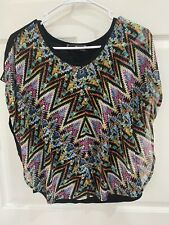 Almost Famous Poncho Style Boho Black Pink Blue Shirt Blouse Size Medium M