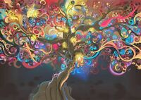 Abstract Tree - Fantasy Colourful Flowers  Canvas Wall Art 20X30 INCHES