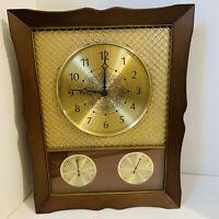 Vintage Mid-Century Westclox Nocord Weather Station Wall Clock Metal Mesh Plasti