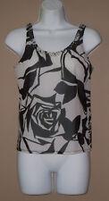 Womens Size Small Sleeveless Summer Fashion Floral Beaded Crop Tank Top Shirt