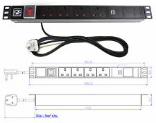"19"" 6 Way Power Distribution Unit (4x UK & 2x USB PORTS) Extension PDU Data Rack"