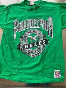 Vintage Philadelphia Eagles T-shirt L Large Nutmeg Mills 1990's Kelly Green NFL