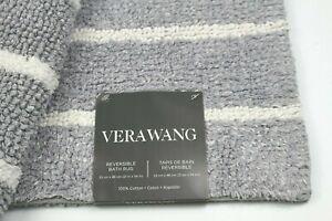 Vera Wang Reversible Bath  Rug 21 x 34 Soft Purple Gray & White Stripe Cotton